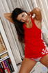Alluring naughty teen wearing hot red dress…
