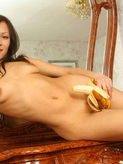 Teen giving a banana blowjob while - Sexy Women in Lingerie - Picture 15