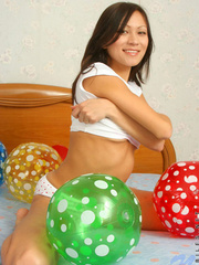 Asian chick with balloons and hard - Sexy Women in Lingerie - Picture 5