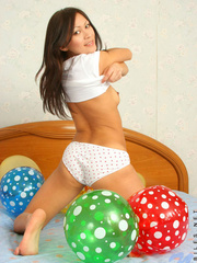Asian chick with balloons and hard - Sexy Women in Lingerie - Picture 6