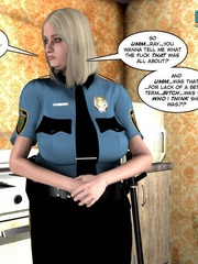Blonde busty 3d police officer blows young - Cartoon Sex - Picture 1