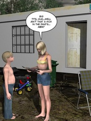 Blonde 3d babe in tight denim shorts flashing - Cartoon Sex - Picture 8