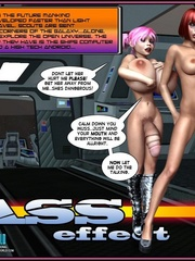 One pretty big boobed shemale and two hot - Cartoon Sex - Picture 1