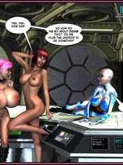 One pretty big boobed shemale and two hot - Cartoon Sex - Picture 15
