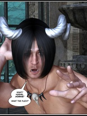 Muscular horned 3d guy trying to fuck two - Cartoon Sex - Picture 3