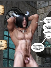 Muscular horned 3d guy trying to fuck two - Cartoon Sex - Picture 4