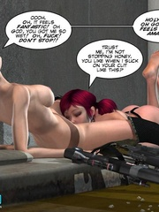 Two real hot 3d lesbians using strapon to - Cartoon Sex - Picture 10