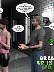 Plump smoking 3d woman seduced a younger guy - Cartoon Sex - Picture 1