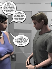 Plump smoking 3d woman seduced a younger guy - Cartoon Sex - Picture 7