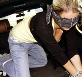 Blindfolded and bound blonde babe is real pro on cock sucking and tittyfuck.