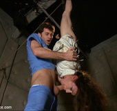 Blindfolded beauty in tight rope bondage gets four…