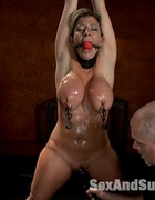 Restrained blonde slave milf used and banged as…