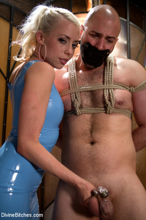 Tied up enslaved dude gets his pecker to - XXX Dessert - Picture 1