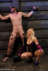 Perverted blonde babe dominates her enslaved bf and forced him to lick