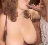 Seventies lady with insane tits receives a load on…