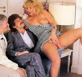 Horny seventies blonde loves two big cocks