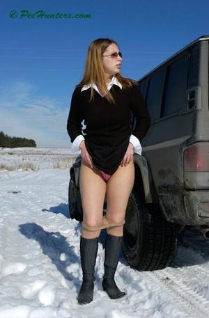 Teen peeing on snow near the car - XXXonXXX - Pic 8