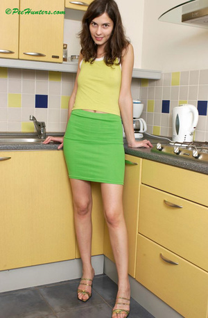 Cute teen peeing on the kitchen - XXXonXXX - Pic 1