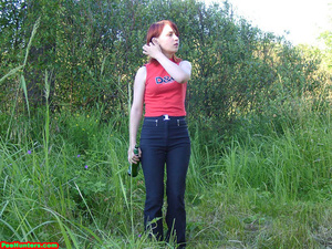 Spying on redhair teen peeing after beer - XXXonXXX - Pic 1