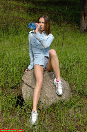 Spying on exciting beautiful teen peeing in the park - XXXonXXX - Pic 7