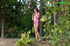 Smooth little sweetie passes water in the woods - XXXonXXX - Pic 3