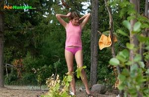 Smooth little sweetie passes water in the woods - XXXonXXX - Pic 14