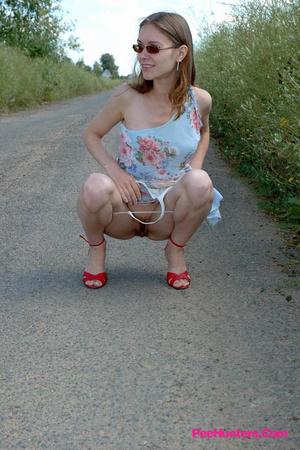 Shameless little ho pisses up a storm on the road - XXXonXXX - Pic 6