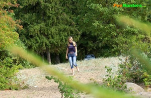 Perverted blonde flasher teen pisses in forest - XXXonXXX - Pic 1