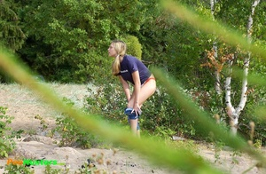 Perverted blonde flasher teen pisses in forest - XXXonXXX - Pic 2