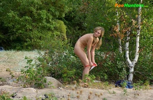 Perverted blonde flasher teen pisses in forest - XXXonXXX - Pic 12