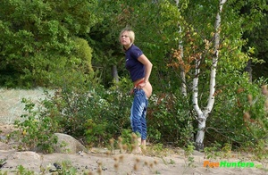 Perverted blonde flasher teen pisses in forest - XXXonXXX - Pic 14