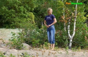 Perverted blonde flasher teen pisses in forest - XXXonXXX - Pic 15