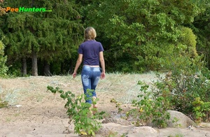 Perverted blonde flasher teen pisses in forest - XXXonXXX - Pic 16