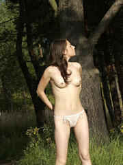 Shameless young tart caught peeing on forest path - XXXonXXX - Pic 9