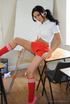 Nasty college girl Kayleigh Williams in red miniskirt and yellow panties