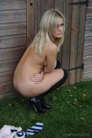 Blonde cutie Amy Green in sexy black socks gets sripped by Kayleigh Wi.. - picture 15