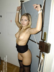Lovely girl Lucky tied to the chair and her pantyhose pulled down. She.. - picture 20