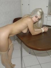 Adorable Lola in sexy white stay ups tied legs spread. She needs to fu.. - picture 11