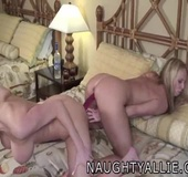 Horny Bi Wives Riding A Huge Double Dong