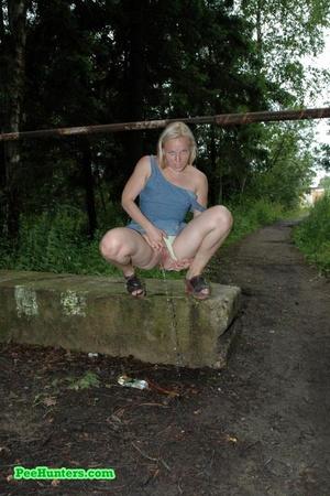 Nasty blonde teeny pissing in a quiet park - XXXonXXX - Pic 8