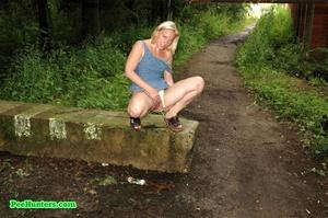 Nasty blonde teeny pissing in a quiet park - XXXonXXX - Pic 11