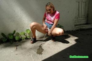 Nasty teen slut takes a piss in the backstreet - XXXonXXX - Pic 6