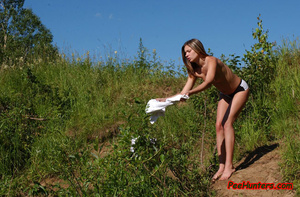 Beautiful shaved teen peeing outdoor - XXXonXXX - Pic 5