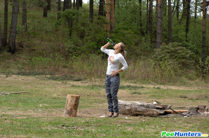 Girl goes to the woods to piss and smoke a cig - XXXonXXX - Pic 14