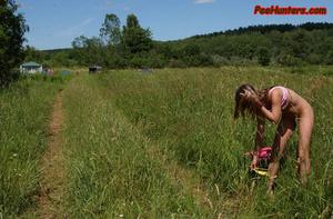 Beautiful teen peeing on the field - XXXonXXX - Pic 8
