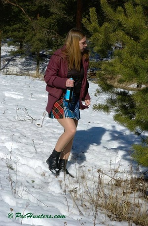 Teen peeing in the snow forest - XXXonXXX - Pic 2