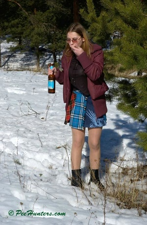 Teen peeing in the snow forest - XXXonXXX - Pic 3