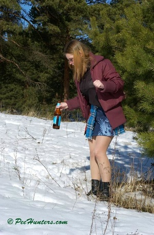 Teen peeing in the snow forest - XXXonXXX - Pic 4