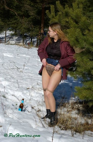 Teen peeing in the snow forest - XXXonXXX - Pic 7