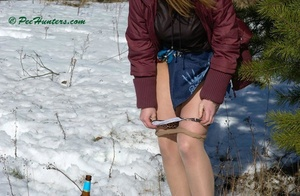 Teen peeing in the snow forest - XXXonXXX - Pic 8